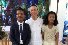 Sr. Florence, catechist, and the children