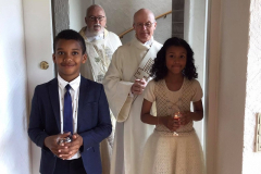 Making their entrance into church